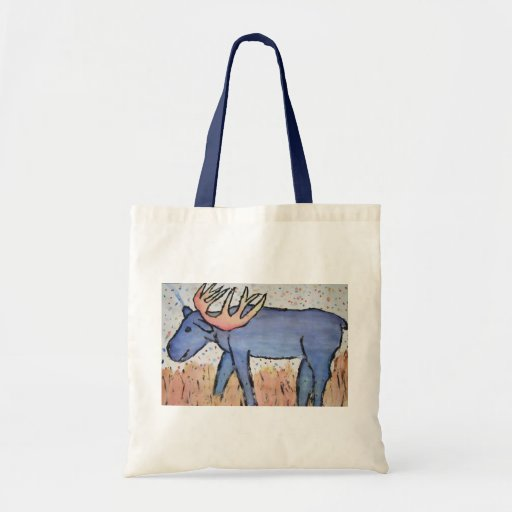 Bull Moose - Blue Grazing Grass, Painting, Drawing Bag