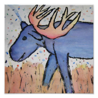 Bull Moose - Blue Grazing Grass, Painting, Drawing Posters