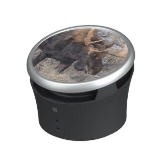Bull Moose in field with Cottonwood Trees Bluetooth Speaker