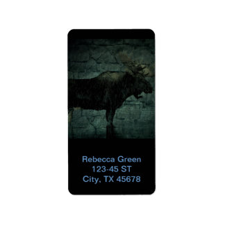 Bull Moose in The Fall Rain Personalized Address Labels