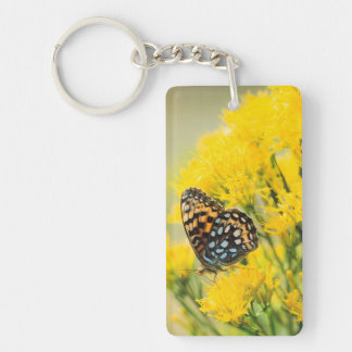 Bull Moose jousting in field with Cottonwood Trees Keychain