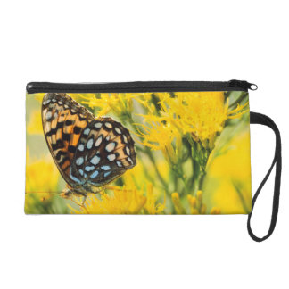 Bull Moose jousting in field with Cottonwood Trees Wristlet Purse