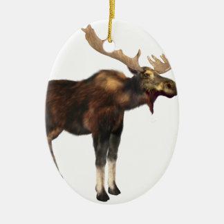 Bull Moose Looking Left Ceramic Ornament