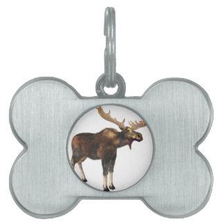 Bull Moose Looking Left Pet Tag
