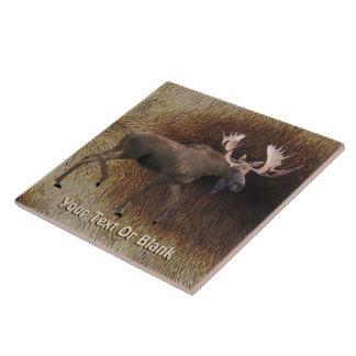 Bull Moose On Caribou Fur Tile