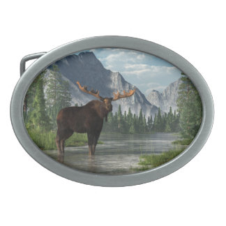 Bull Moose Oval Belt Buckle
