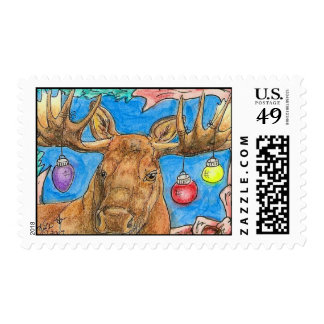 Bull Moose with Ornaments Holiday Wildlife Art Postage Stamp