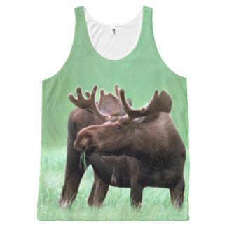 Bull Moose With Velvet Antlers in Yellowstone NP All-Over Print Tank Top