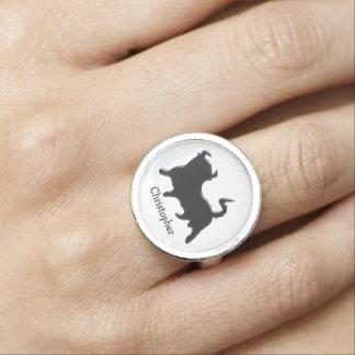 Bull negra apenas añade nombre anillos con foto