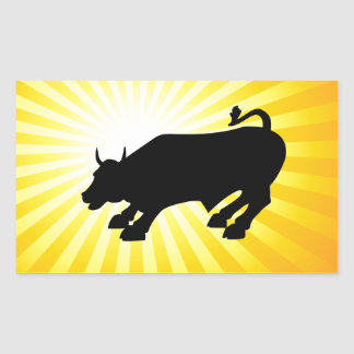 Bull negra de carga de Wall Street Pegatina Rectangular