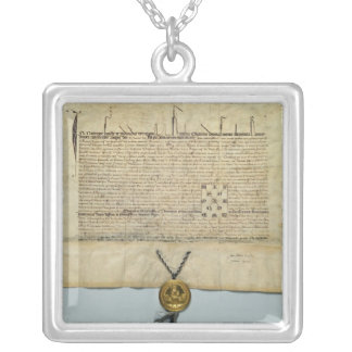 Bull of Charles IV  Holy Roman Emperor Square Pendant Necklace