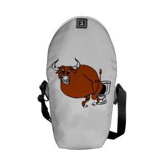 Bull On Toilet Messenger Bags