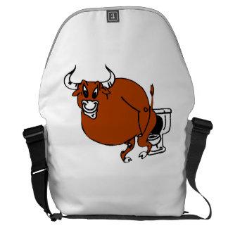 Bull On Toilet Courier Bag