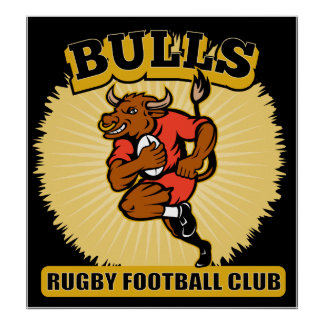 Bull playing rugby running with ball poster