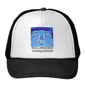 Bull Portrait blue acrylic painting art printed on Trucker Hat