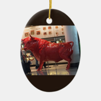 Bull Power Red Furious Animal Fighting Fit Friend Ceramic Ornament