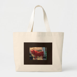 Bull Power Red Furious Animal Fighting Fit Friend Large Tote Bag