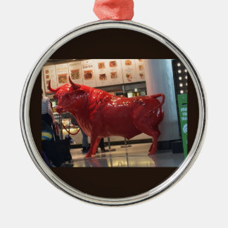 Bull Power Red Furious Animal Fighting Fit Friend Metal Ornament