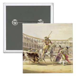 Bull que carga a un Picador, 1865 (litho del color Pin Cuadrado