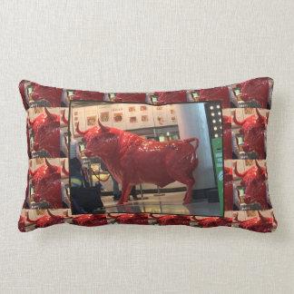 BULL Red Energy Animal Sports Stock Market Icon Lumbar Pillow