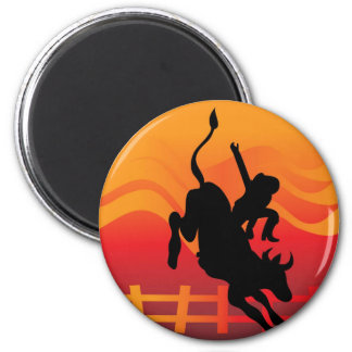 Bull Rider 2 Inch Round Magnet