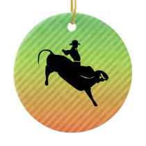 Bull Rider Ceramic Ornament