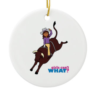 Bull Rider Dark Double-Sided Ceramic Round Christmas Ornament