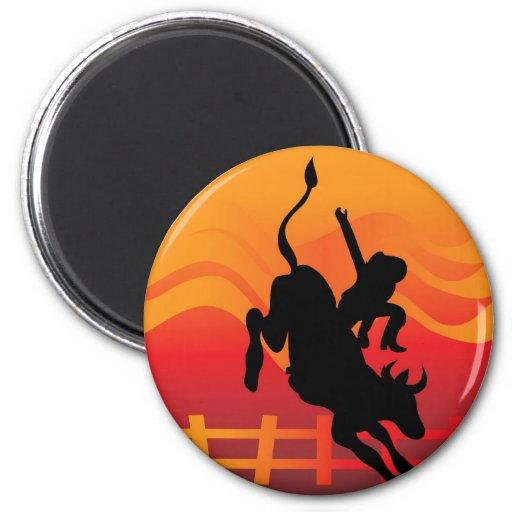Bull Rider Fridge Magnet