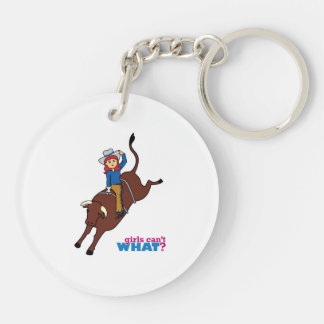 Bull Rider Light/Red Acrylic Key Chain