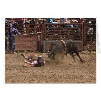 Bull rider meets angry bull greeting card