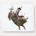 Bull rider mouse pad