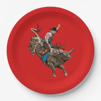 Bull rider paper plate