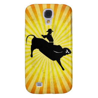Bull Rider Silhouette; yellow Samsung Galaxy S4 Case