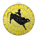 Bull Rider Silhouette; yellow Dartboard