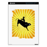 Bull Rider Silhouette; yellow Decal For iPad 3