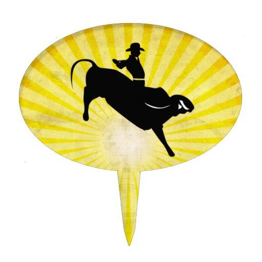 Bull Rider Silhouette; yellow Oval Cake Picks