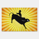 Bull Rider Silhouette; yellow Signs