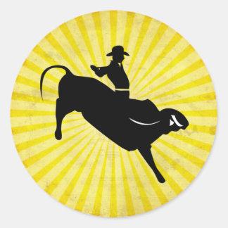 Bull Rider Silhouette yellow Round Sticker