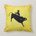 Bull Rider Silhouette; yellow Throw Pillow