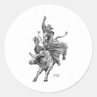 Bull Rider Round Sticker