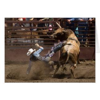 Bull rider takes a fall greeting card