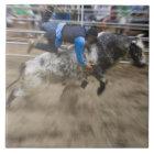 Bull rider thrown off bull ceramic tile
