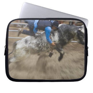 Bull rider thrown off bull computer sleeve