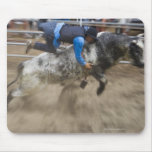 Bull rider thrown off bull mouse pad