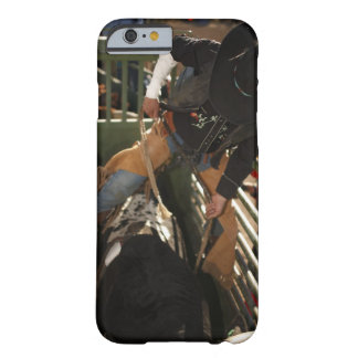 Bull rider tying rope on bull in the chute barely there iPhone 6 case