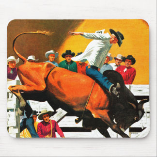 Bull Riding by Fred Ludekens Mouse Pad