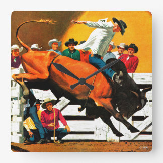 Bull Riding by Fred Ludekens Square Wall Clock