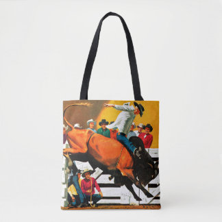 Bull Riding by Fred Ludekens Tote Bag