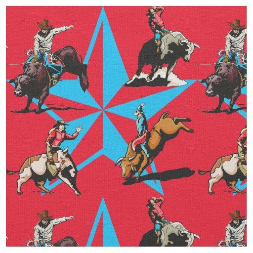 Bull Riding Cowboys Rodeo Western Fabric