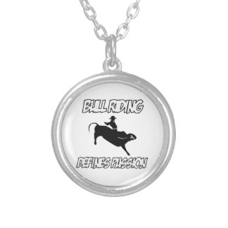 bull riding designs silver plated necklace